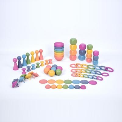TickIt - Houten Superset in regenboogkleuren - Set van 84