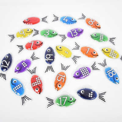 Regenboog gel cijfer vis - Set van 21